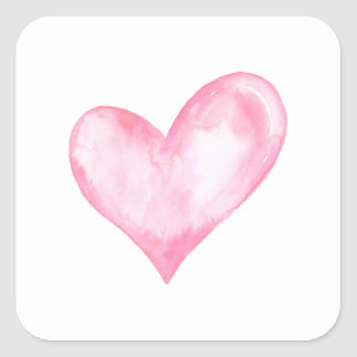 Pegatina Cuadrada Corazón rosado de la acuarela, regalo de la