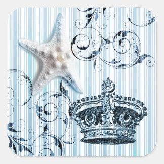 Pegatina Cuadrada corona del seashell de las estrellas de mar de las