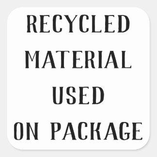 Pegatina Cuadrada Correos materiales reciclados del envío de