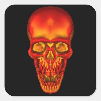 Pegatina Cuadrada Cráneo anaranjado de la sol
