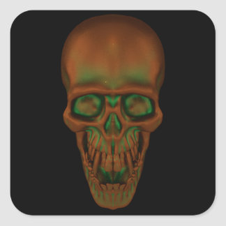 Pegatina Cuadrada Cráneo bronceado