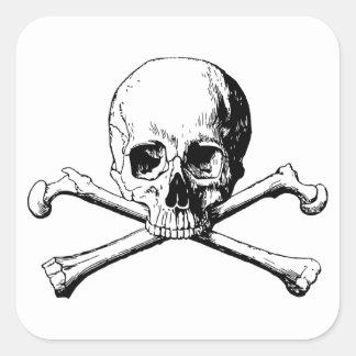 Pegatina Cuadrada Cráneo de la bandera pirata