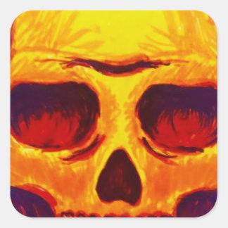Pegatina Cuadrada Cráneo del bosquejo