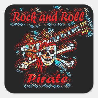 Pegatina Cuadrada Cráneo del pirata de la guitarra del rock-and-roll
