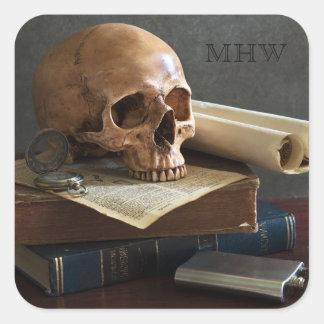 Pegatina Cuadrada Cráneo en los pegatinas de encargo del monograma