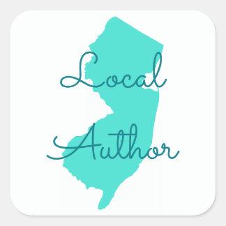 Pegatina Cuadrada Cree a su propio autor del Local de New Jersey