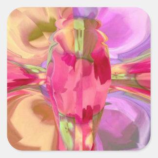 Pegatina Cuadrada Cristal color de rosa de la mariposa