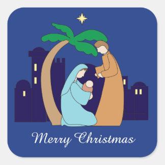 Pegatina Cuadrada Cristiano santo del navidad de la natividad de la
