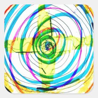 Pegatina Cuadrada Cruces de Cartoids del fractal y la banda espiral