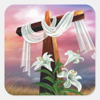 Pegatina Cuadrada Cruces y escenas de Domingo de Pascua y de Ramos