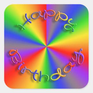 Pegatina Cuadrada Cuadrado de los pegatinas del arco iris del feliz