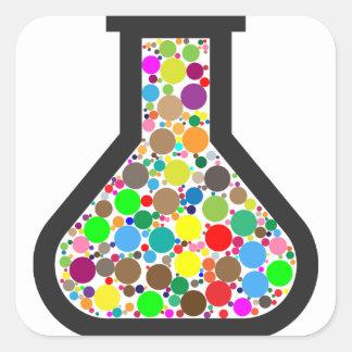 Pegatina Cuadrada Cubilete con las sustancias químicas del arco iris