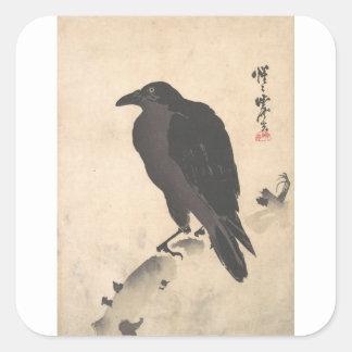 Pegatina Cuadrada Cuervo de Kawanabe Kyosai que descansa sobre el