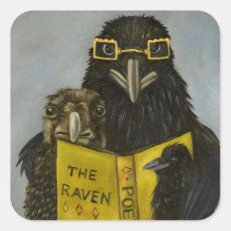 Pegatina Cuadrada Cuervos leídos