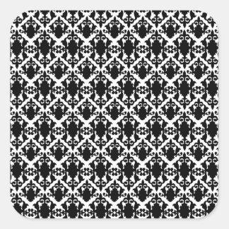 Pegatina Cuadrada Damasco blanco y negro maravilloso