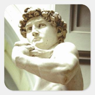 Pegatina Cuadrada David - la imagen eterna de Florencia