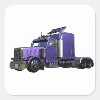 Pegatina Cuadrada De la púrpura camión metálico del tractor remolque