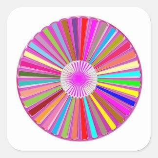 Pegatina Cuadrada Decoraciones coloridas de Chakra de la rueda