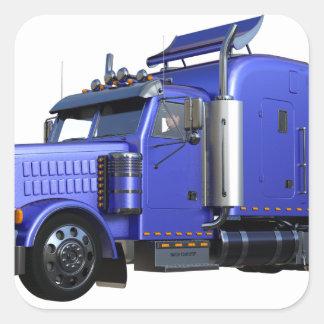 Pegatina Cuadrada Del azul camión metálico del tractor remolque semi