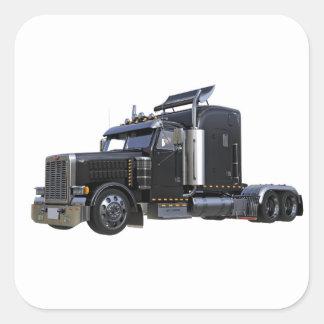 Pegatina Cuadrada Del negro camión del tractor remolque semi