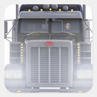 Pegatina Cuadrada Del negro camión del tractor remolque semi con las