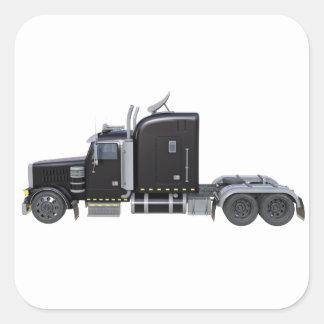 Pegatina Cuadrada Del negro tractor remolque semi en perfil lateral