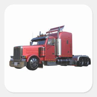 Pegatina Cuadrada Del rojo camión metálico de Traler del tractor