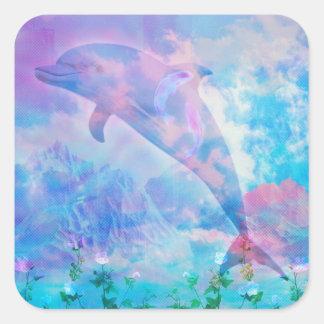 Pegatina Cuadrada Delfín de Vaporwave en el cielo