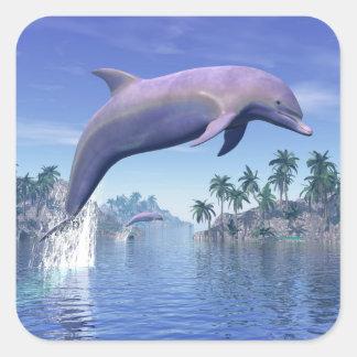 Pegatina Cuadrada Delfín en las zonas tropicales - 3D rinden