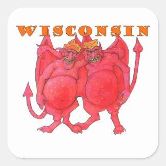Pegatina Cuadrada Demonios de Wisconsin Cheesehead