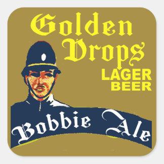 Pegatina Cuadrada Descensos de oro/cerveza inglesa de Bobbie