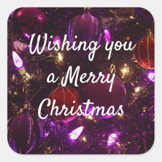 Pegatina Cuadrada Deseándole Felices Navidad pegatinas de la púrpura