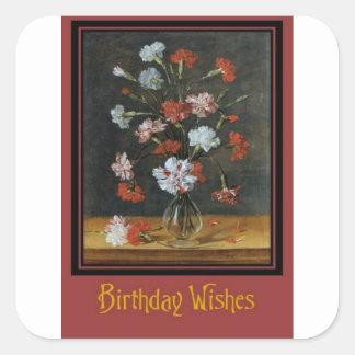 Pegatina Cuadrada Deseos del cumpleaños - claveles en un florero de