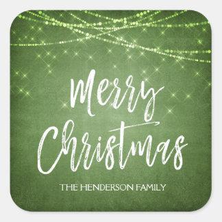 Pegatina Cuadrada Día de fiesta de la escritura del navidad verde y