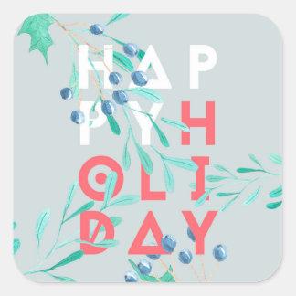 Pegatina Cuadrada Día de fiesta moderno del acebo de la acuarela
