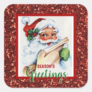 Pegatina Cuadrada Día de fiesta Santa verde rojo de Navidad de los