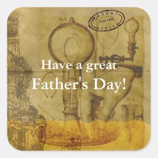 Pegatina Cuadrada Día de padre de la bombilla de Steampunk Edison el