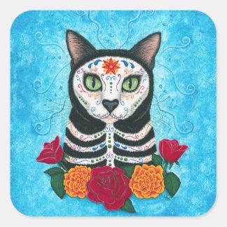 Pegatina Cuadrada Día del arte muerto del gato del cráneo del azúcar