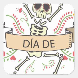 Pegatina Cuadrada Diámetro DE Festival de los muertos