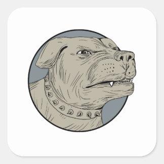 Pegatina Cuadrada Dibujo agresivo de la cabeza de perro guardián de