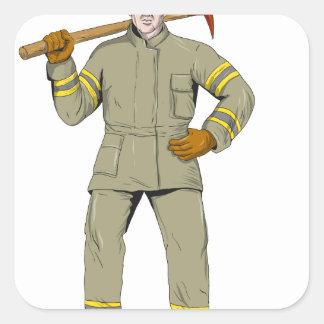 Pegatina Cuadrada Dibujo americano del hacha del fuego del bombero