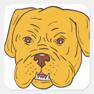 Pegatina Cuadrada Dibujo animado de la cabeza de perro de Burdeos