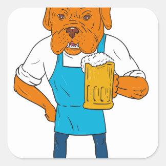 Pegatina Cuadrada Dibujo animado de la mascota de la taza del