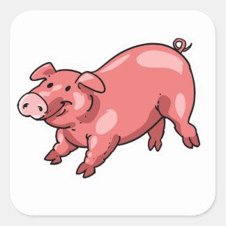 Pegatina Cuadrada dibujo animado divertido del cerdo rosado
