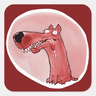 Pegatina Cuadrada dibujo animado divertido del perro estúpido