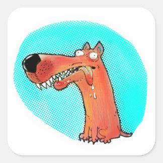 Pegatina Cuadrada dibujo animado estúpido divertido del perro