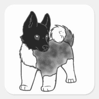 Pegatina Cuadrada dibujo animado negro de plata de la capa de Akita