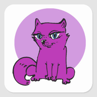 Pegatina Cuadrada dibujo animado púrpura del gato del gatito dulce