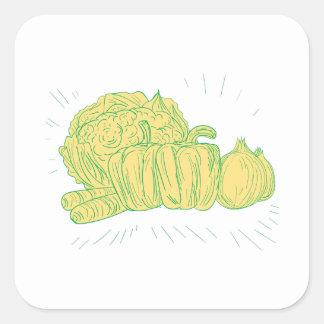 Pegatina Cuadrada Dibujo de la cebolla del pimiento de Brocolli