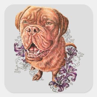 Pegatina Cuadrada Dibujo del arte y de los lirios del perro del